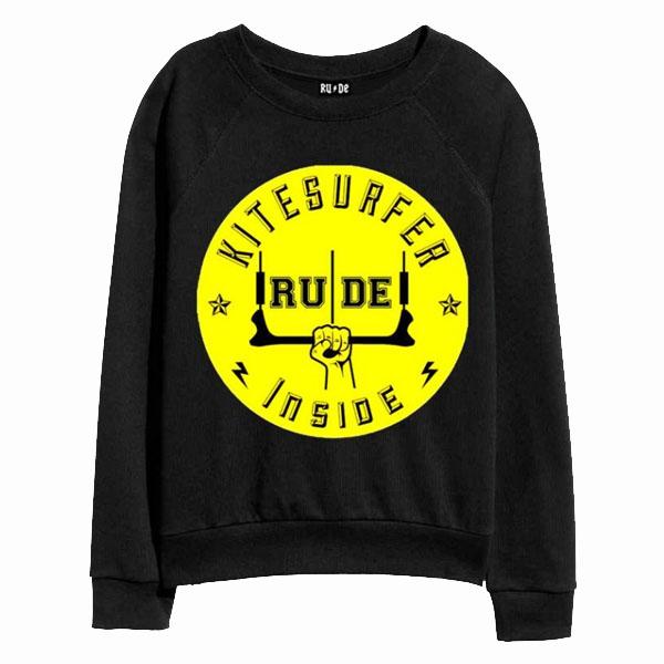 RUDE(ルード)レーナー スウェット 長袖 黒 ブラック 20代 30代 40代 ファッション コーディネート 大きいサイズ 日本未入荷 インポート メンズ カジュアル ユニセックス メンズ 大人 プレゼント レディース S M L XL divacloset edm フェス プリント Tシャツ