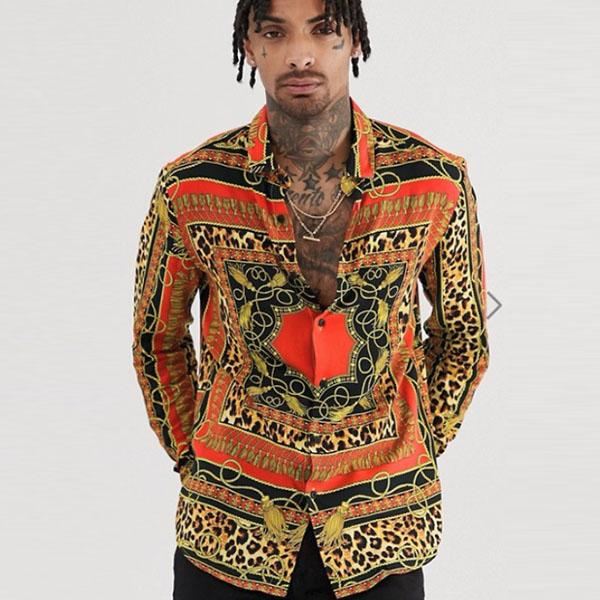 ASOS メンズ トップス 長袖 バロック&レオパード柄シャツ レギュラーフィット ブラウス 20代 30代 40代 ファッション コーディネート XXS~XXXL オシャレ トレンド インポート トレンド 小さいサイズから大きいサイズあり