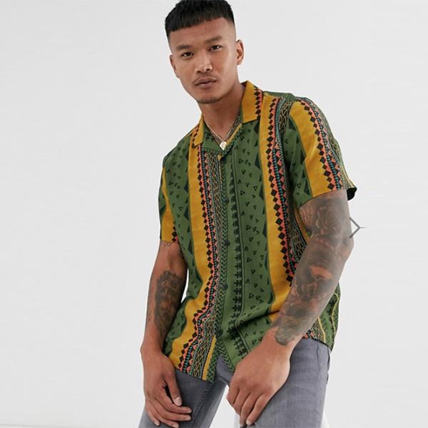 ASOS メンズ トップス 半袖 ストライプ柄カラフル シャツ ブラウス Tシャツ オーバーサイズ 20代 30代 40代 ファッション コーディネート XXS~XXXL オシャレ トレンド Tシャツ 半袖 インポート トレンド