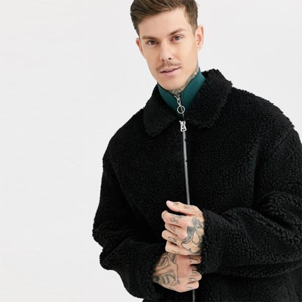 ASOS DESIGN テディ ハリントン ジャケット(ブラック) アウター 長袖 インポート 大きいサイズ 20代 30代 40代