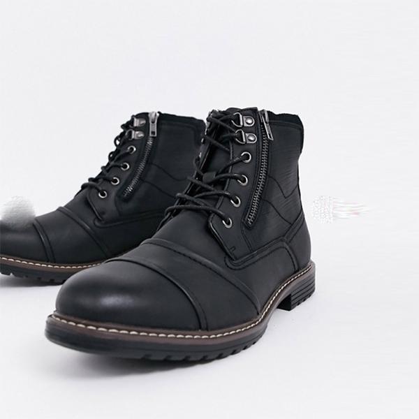River Island リバーアイランド ワイド フィット ダブル ジップ ブーツ ブラック 靴 インポート 大きいサイズ 20代 30代 40代