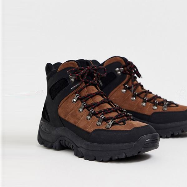 ASOS DESIGN ハイカーブラウン ブラック フェイクスエード レースアップ ブーツ 靴 インポート 大きいサイズ 20代 30代 40代
