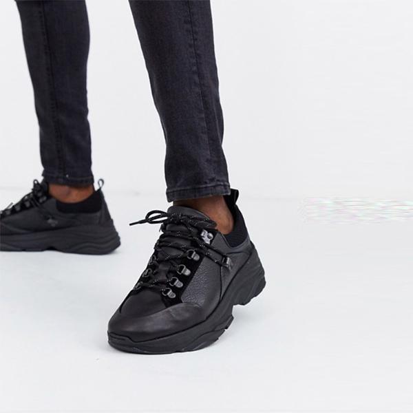 オム チャンキー ソール プレミアム レザー トレーナー 靴 インポート 大きいサイズ 20代 30代 40代