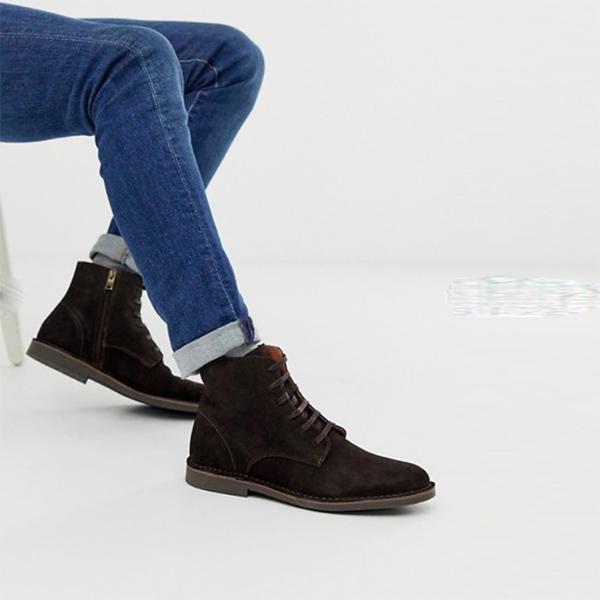 オム スエード レース アップ ブーツ 靴 インポート 大きいサイズ 20代 30代 40代