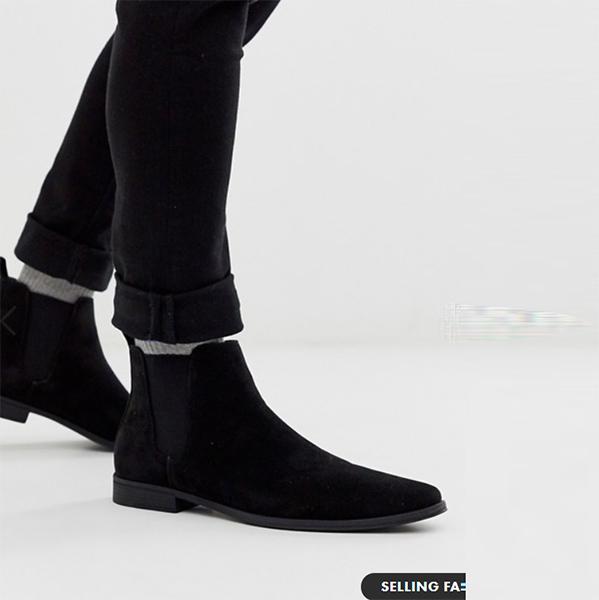ASOS DESIGN チェルシーブーツ(ブラック フェイク スエード) 靴 スニーカー インポート 大きいサイズ 20代 30代 40代
