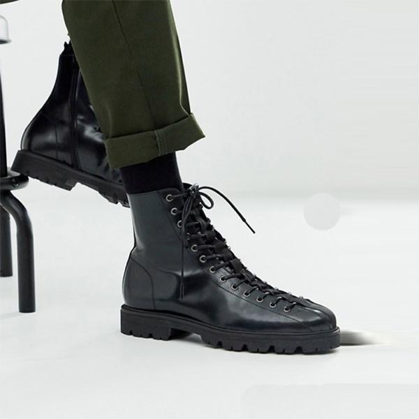 ASOS DESIGN テーピング ディテール付き ブラックレザー レースアップ ブーツ 靴 インポート 大きいサイズ 20代 30代 40代