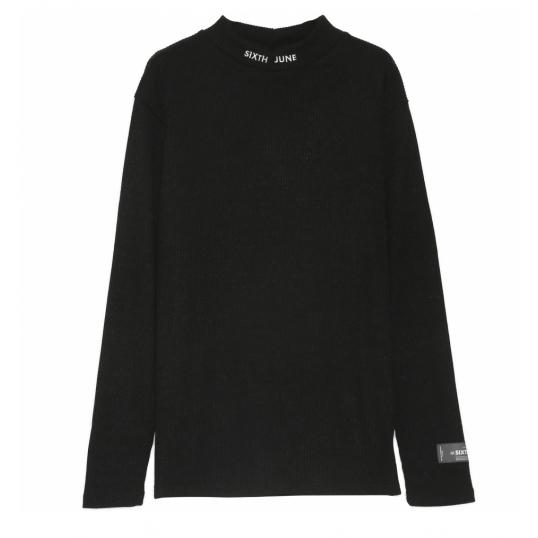 日本未入荷 Sixth June(シックススジューン)ハイカラー リブ Tシャツ ブラック  20代 30代 40代 ファッション コーディネート オシャレ カジュアル