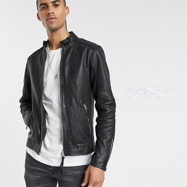 AllSaints Cora スリムフィット ジップ スルー レザー ジャケット(ブラック) 長袖 20代 30代 40代 ファッション コーディネート オシャレ カジュアル