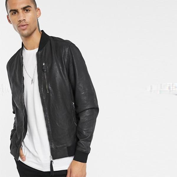 AllSaints Cora レザー ボンバー ジャケット ブラック 長袖 20代 30代 40代 ファッション コーディネート オシャレ カジュアル
