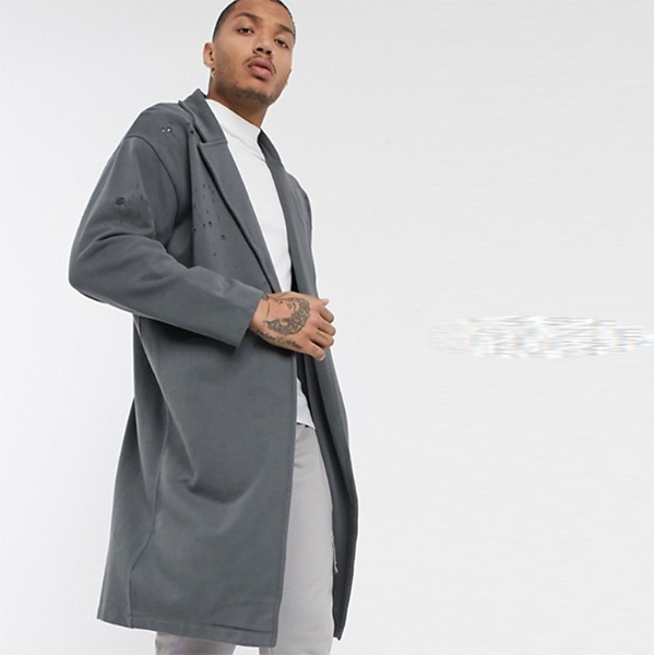 ASOS DESIGN オーバーサイズ ジャージー ダスター ジャケット(ウォッシュドブラック) アウター 20代 30代 40代 ファッション コーディネート オシャレ カジュアル