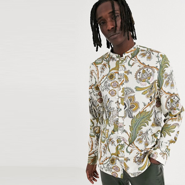 ASOS DESIGN ベージュ レギュラー フローラル マンダリン シャツ 20代 30代 40代 ファッション コーディネート オシャレ カジュアル
