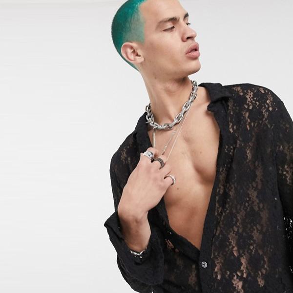 ASOS DESIGN スキニー レース シャツ ブラック 20代 30代 40代 ファッション コーディネート オシャレ カジュアル