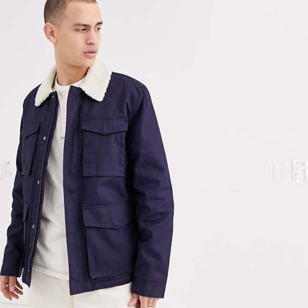 ASOS DESIGN ワックス仕上げ ブルー ボルグカラー ジャケット 20代 30代 40代 ファッション コーディネート オシャレ カジュアル
