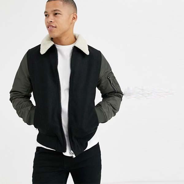 River Island カーキ色 リバーアイランド ジャケット(ボルグカラー付き) 20代 30代 40代 ファッション コーディネート オシャレ カジュアル