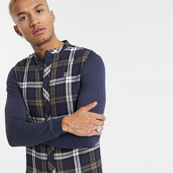 SikSilk フランネル チェック グランダッド シャツ メンズ 20代 30代 40代 ファッション コーディネート小さいサイズから大きいサイズまで