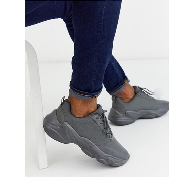 ASOS エイソス グレー メッシュ トレーナー 靴 メンズ  20代 30代 40代 インポート ブランド