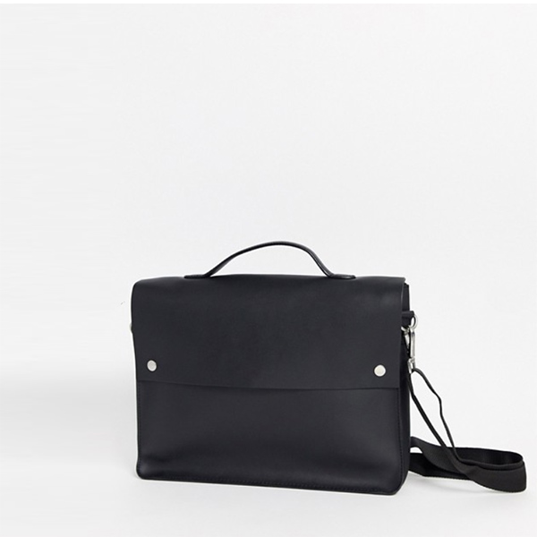ASOS DESIGN レザー サッチェル ブラック メンズ 20代 30代 40代 ファッション コーディネート