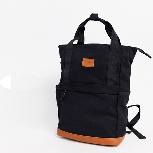 ASOS グラブハンドル付き PU タンベース 黒 キャンバス バックパック 鞄 メンズ 20代 30代 40代 ファッション コーディネート
