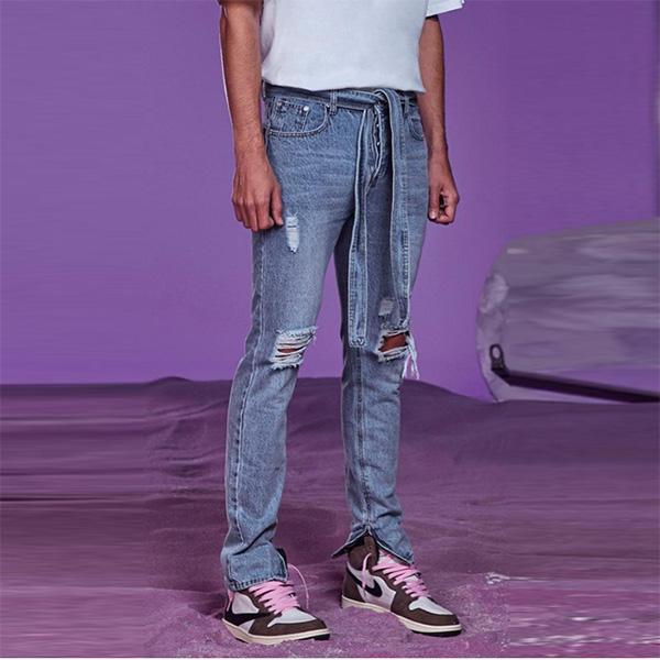 boohoo(ブーフー)デニム ベルト付き スキニー リジッド ジーンズ メンズ ボトム メンズ デニム ズボン パンツ デニム 大きいサイズ お洒落 ブランド
