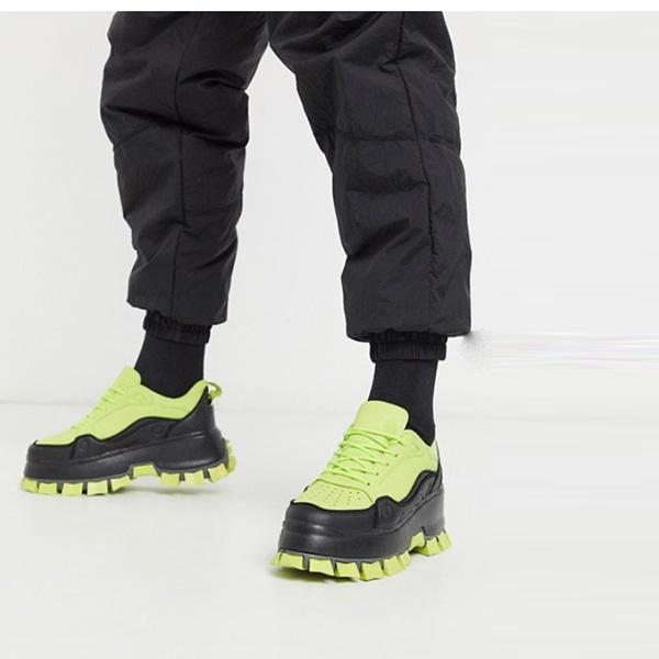 ASOS DESIGN ネオン トレーナー チャンキーソール 靴 シューズ  インポートブランド 大人カジュアル 30代 40代 20代