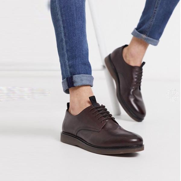 H by Hudson バーンズ テーブル バーガンディ レザー レース アップ シューズ boots 靴 インポート 大きいサイズ 20代 30代 40代