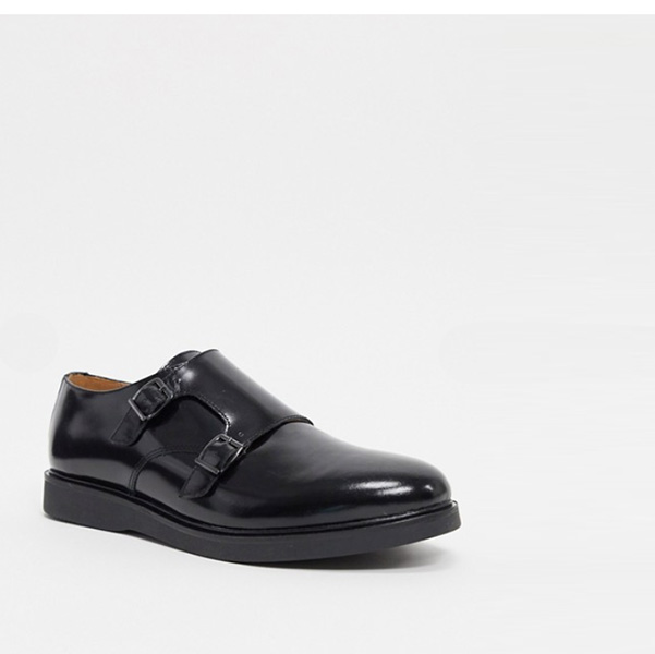 H by Hudson カルバー ストーン モンク シューズ ブラック ハイシャイン boots 靴 インポート 大きいサイズ 20代 30代 40代