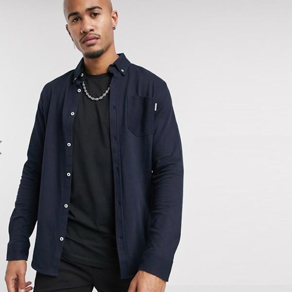 ジャック&ジョーンズ コア ジャージー リブシャツ ネイビー 20代 30代 40代 ファッション コーディネート小さいサイズから大きいサイズまで オシャレ トレンド Tシャツ インポート トレンド
