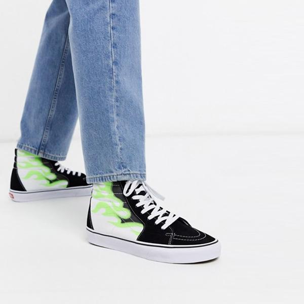 Vans SK8-Hi フレーム トレーナー ブラック グリーン 靴 スニーカー 20代 30代 40代 ファッション コーディネート小さいサイズから大きいサイズまで オシャレ トレンド インポート トレンド