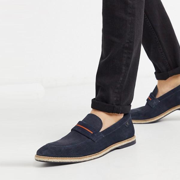 ベースロンドン キンシー ローファー ネイビー スエード 靴 20代 30代 40代 ファッション コーディネート小さいサイズから大きいサイズまで オシャレ トレンド インポート トレンド