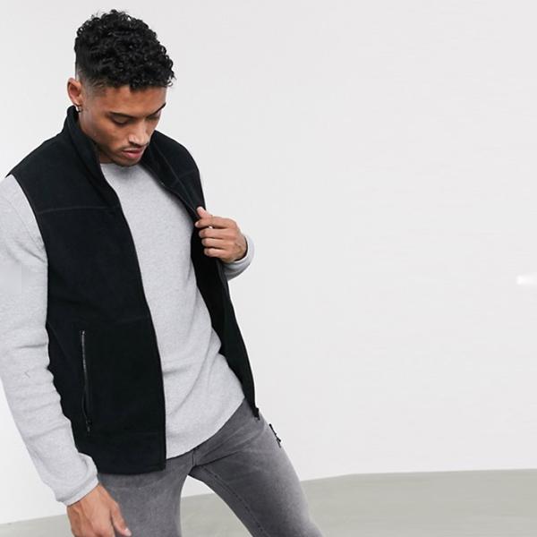 ASOS DESIGN ポーラー フリース ジレ ブラック 20代 30代 40代 ファッション コーディネート小さいサイズから大きいサイズまで オシャレ トレンド