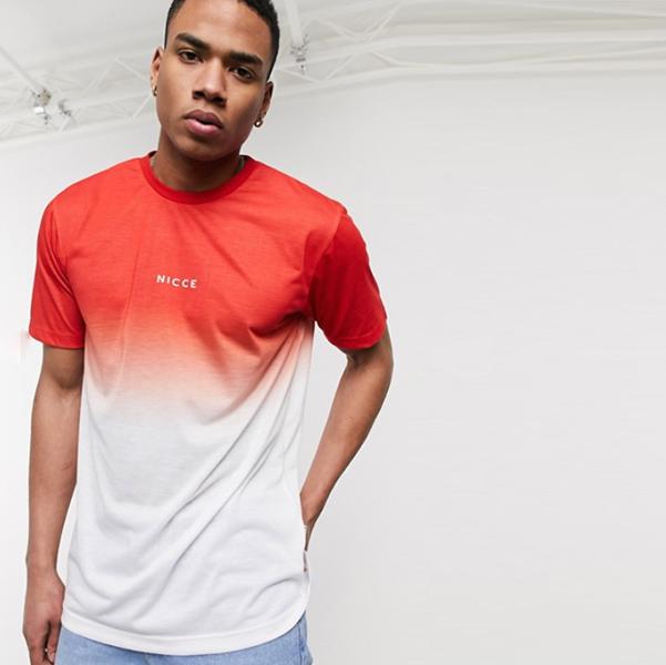 赤い オンブル Nicce フェード Tシャツ 20代 30代 40代 ファッション コーディネート小さいサイズから大きいサイズまで オシャレ トレンド