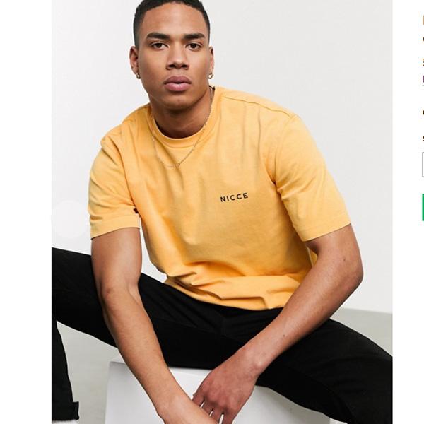 アプリコット Nicce 特大 Tシャツ 20代 30代 40代 ファッション コーディネート小さいサイズから大きいサイズまで オシャレ トレンド Tシャツ インポート トレンド
