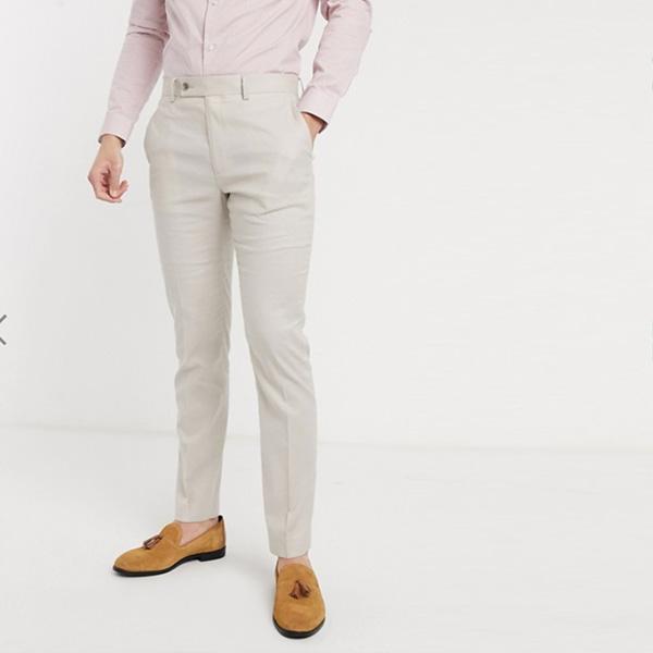 ASOS DESIGN ストーン ストレッチ コットン リネン スキニー スーツ パンツ 20代 30代 40代 ファッション小さいサイズから大きいサイズまで オシャレ トレンド インポート トレンド