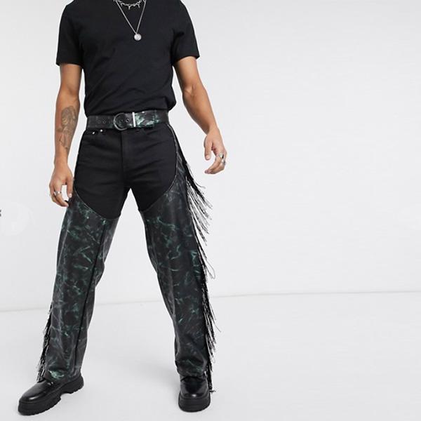 ASOS DESIGN フェイクレザー フリンジ パンツ エイソス 20代 30代 40代 ファッション コーディネート