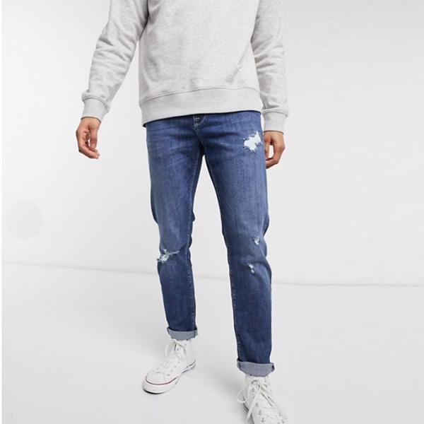 ASOS DESIGN ストレッチ スリム ジーンズ 擦り傷付き ダーク ウォッシュ ブルー インポート ブランド メンズ 20代 30代 40代 ファッション コーディネート