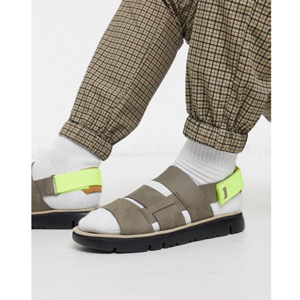ネオントリム付き グレー Camper トリプル ストラップ サンダル 靴 インポート ブランド メンズ 20代 30代 40代 ファッション コーディネート