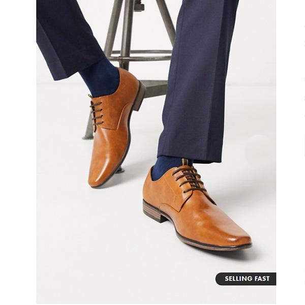 ブラウン エンボス加工 リバーアイランド ダービー 靴 インポート ブランド メンズ 20代 30代 40代 ファッション コーディネート