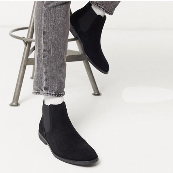 トップマン スエード チェルシー ブーツ ブラック 靴 インポート ブランド メンズ 20代 30代 40代 ファッション コーディネート