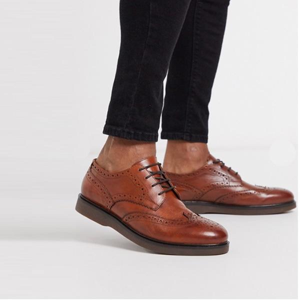 H by Hudson カルバー ストンブローグ タン レザー 靴 インポート ブランド メンズ 20代 30代 40代 ファッション コーディネート