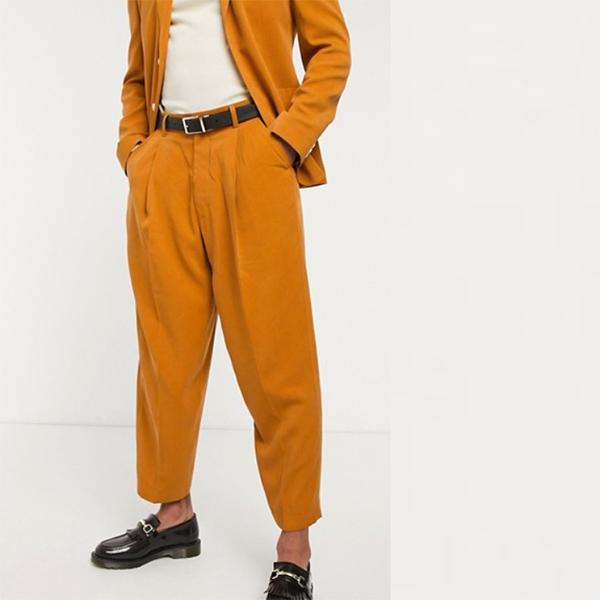 オレンジ ビンテージ スーツ ズボン 20代 30代 40代 ファッション コーディネート 小さいサイズから大きいサイズまで オシャレ トレンド インポート トレンド