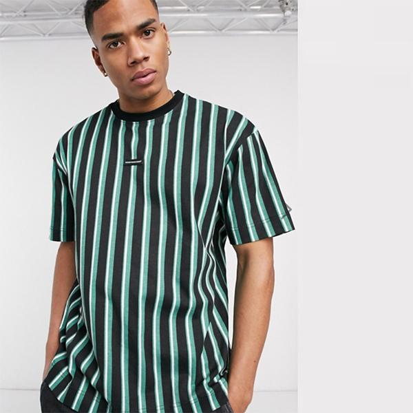 Good For Nothing 緑色 特大 ストライプ Tシャツ 20代 30代 40代 ファッション コーディネート 小さいサイズから大きいサイズまで オシャレ トレンド インポート トレンド