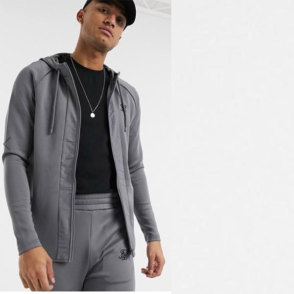 グレー ナイロン パネル SikSilk ジップ スルー フーディー 20代 30代 40代 ファッション コーディネート 小さいサイズから大きいサイズまで オシャレ トレンド インポート トレンド