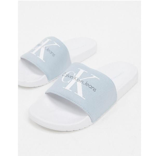 Calvin Klein viggo ロゴ スライダー サンダル(ライトブルー) 靴 20代 30代 40代 ファッション コーディネート 小さいサイズから大きいサイズまで オシャレ トレンド インポート トレンド