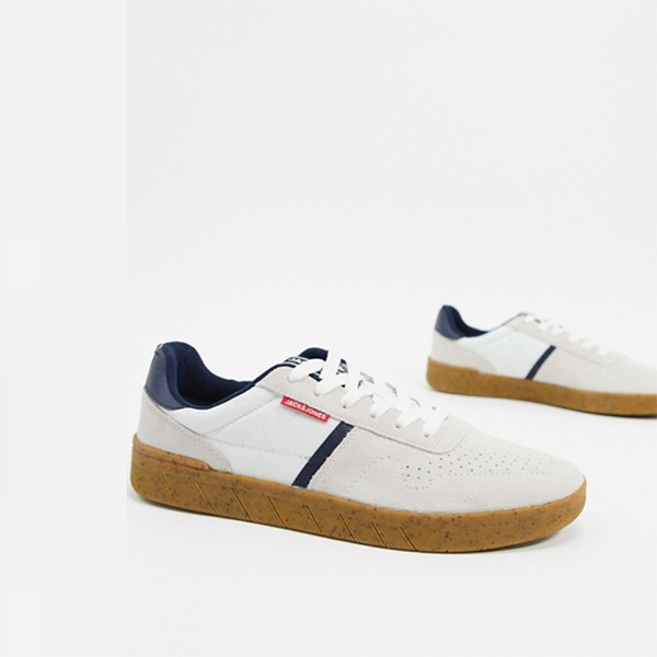 Jack&Jones スエード トレーナー ガムソール ホワイト 靴 20代 30代 40代 ファッション コーディネート 小さいサイズから大きいサイズまで オシャレ トレンド インポート トレンド