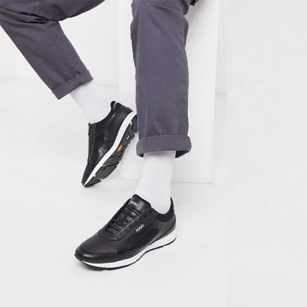 HUGO Hybrid Run トレーナー ブラック 靴 20代 30代 40代 ファッション コーディネート 小さいサイズから大きいサイズまで オシャレ トレンド インポート トレンド