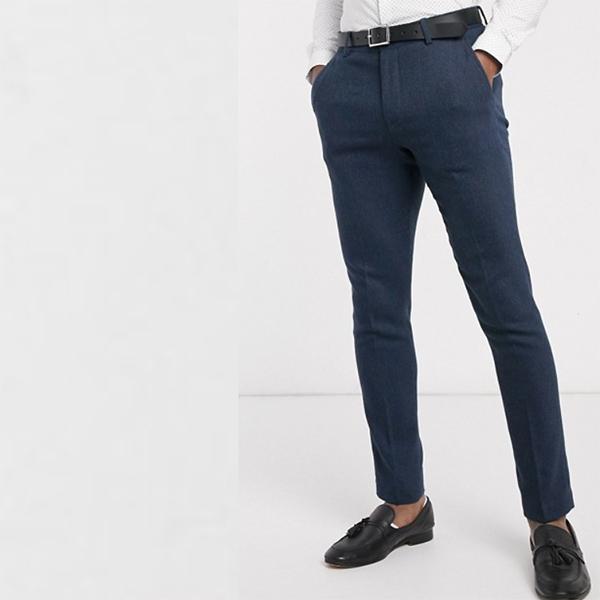 ASOS DESIGN ネイビー ヘリンボーン ウェディング スキニー ウール ミックス スーツ パンツ 20代 30代 40代 ファッション コーディネート オシャレ カジュアル