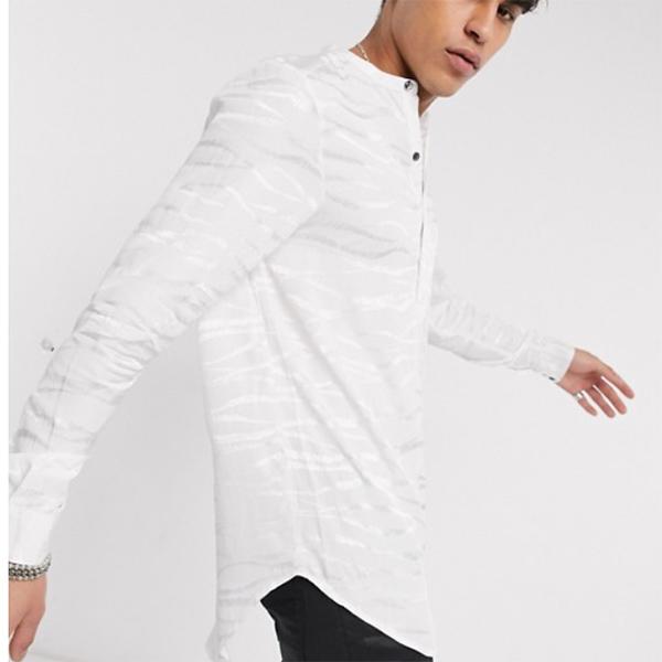 白 虎 質感 ハート&ダガー vネック シャツ 20代 30代 40代 ファッション コーディネート オシャレ カジュアル