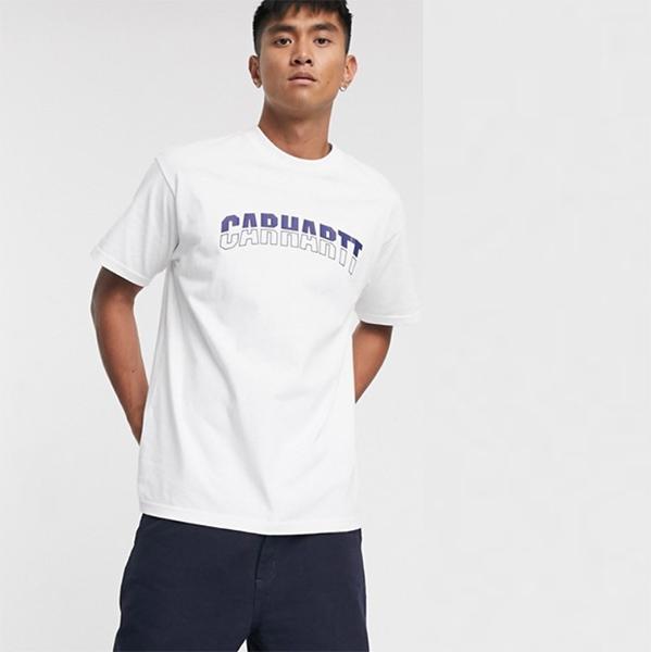 Carhartt WIP District ロゴ Tシャツ ホワイト 20代 30代 40代 ファッション コーディネート オシャレ カジュアル