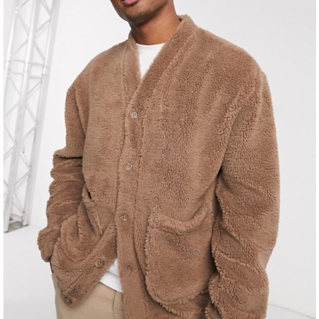 ASOS DESIGN オーバーサイズ テディ ボルグ カーディガン ジャケット(ブラウン) 20代 30代 40代 ファッション コーディネート小さいサイズから大きいサイズまで オシャレ トレンド インポート トレンド