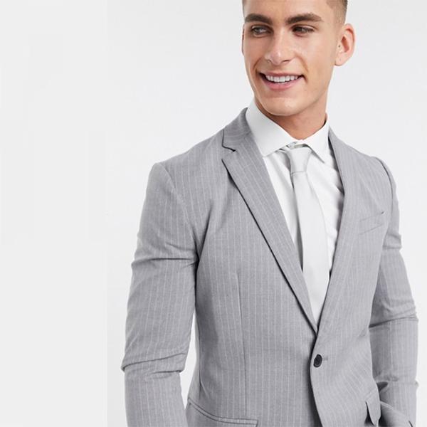 グレー New Look ピンストライプ スキニー スーツ ジャケット 20代 30代 40代 ファッション コーディネート小さいサイズから大きいサイズまで オシャレ トレンド インポート トレンド